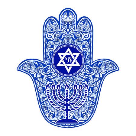 Illustration for jewish hamsa tattoo - Royalty Free Image