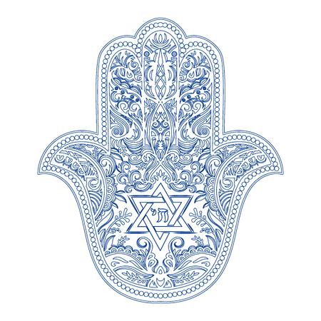 Illustration pour jewish hamsa tattoo - image libre de droit