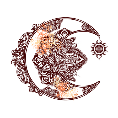Illustration pour Boho chic tattoo design. Golden crescent moon and sun with elements of the mandala - astrology, alchemy and magic symbol. Isolated vector illustration. - image libre de droit