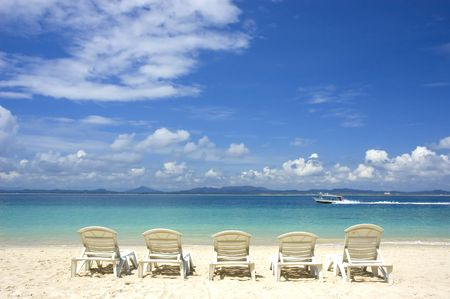 beach with chairs
