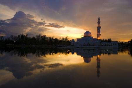 mosque with reflection ,terengganu,malaysia