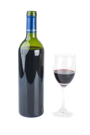 isolated red wine glass and with red wine bottle