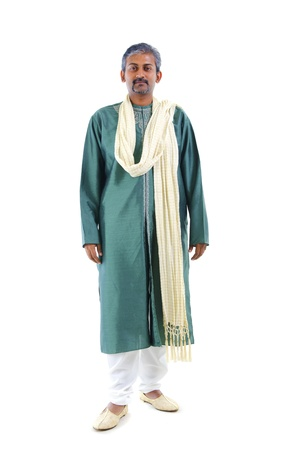 serious looking indian man in traditional dress