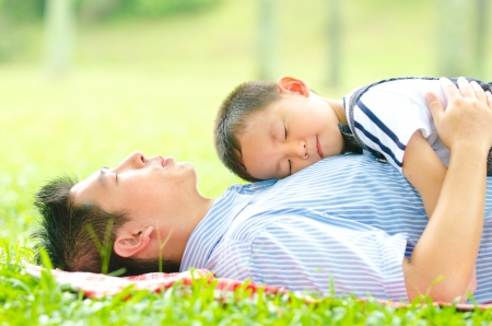 Photo for asian father bonding with his son - Royalty Free Image