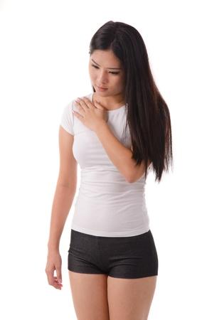 asian female back ache , isolated on white