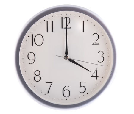 isolated white clock at 4