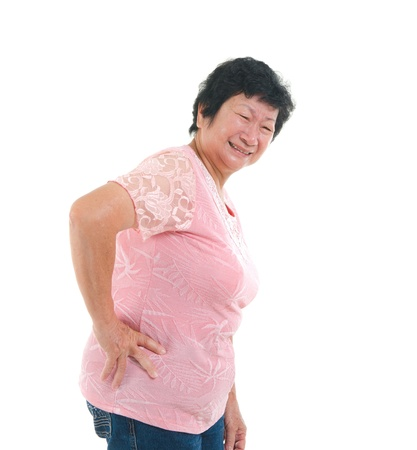 asian senior lady backpain in agony