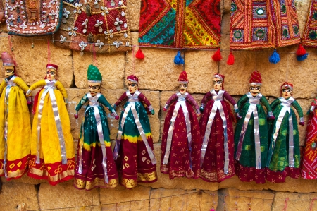 tourist souvenirs indian puppet dolls of jaisalmer,rajasthan india