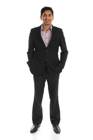 indian male business man with isolated white background full body