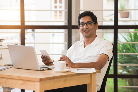 Photo for young indian man working from home office - Royalty Free Image