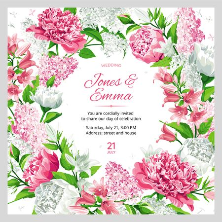 Illustration pour Wedding invitation. Frame with text and flowers - pink and white Rose, Peony, Campanula and Lilac isolated on white Background. - image libre de droit