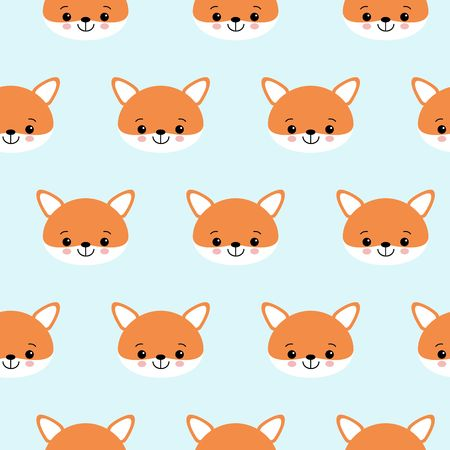 Illustration for Cute foxes seamless vector pattern. Orange fox s head on blue background. - Royalty Free Image