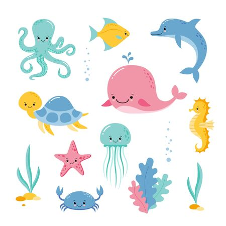 Illustration for Baby sea creatures and animals vector icons isolated on white Underwater creatures and animals set. Vector cartoon Illustration. - Royalty Free Image