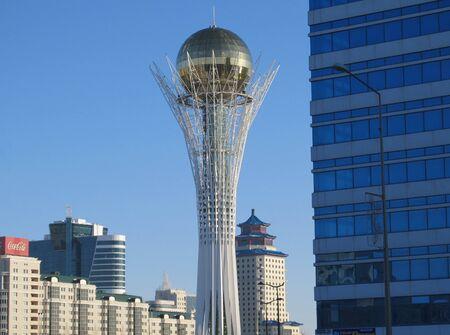 Nursultan , KAZAKHSTAN - march 19, 2011: View of the famous Baiterek tower in spring