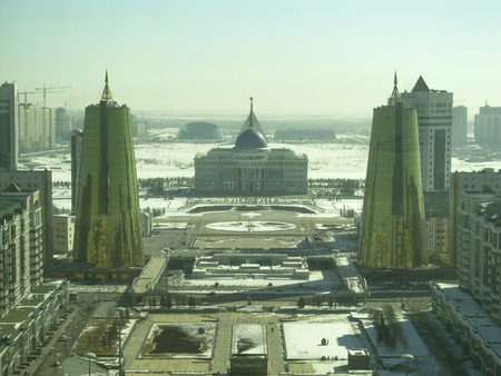 city view from the Baiterek Tower. In Nur Sultan, Kazakhstan.