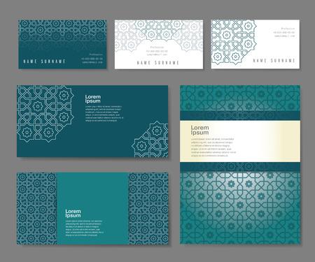 Illustration pour Banners set of templates with arabic ornament, vector illustration - image libre de droit