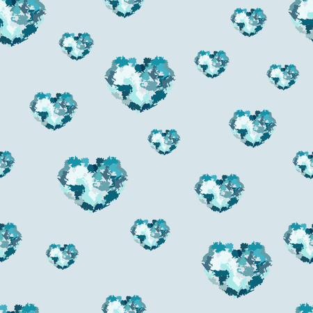 Seamless pattern with hearts from watercolor blurs