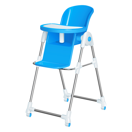 Blue baby highchair for kids feeding, with a removable table