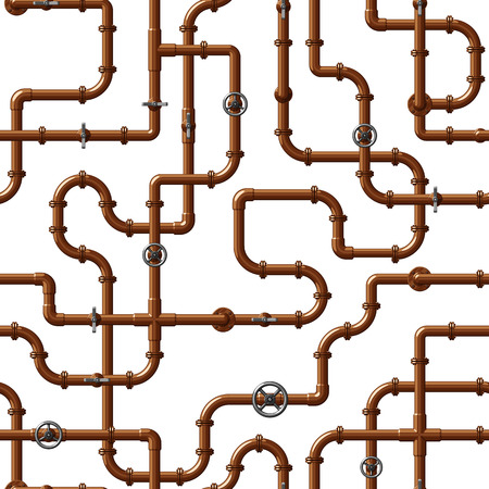 Illustration for Seamless pattern with interlocking water pipes - Royalty Free Image