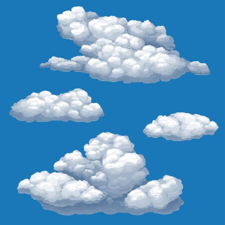 Illustration pour Set of vector isolated images of cumulus clouds on a blue sky background. - image libre de droit