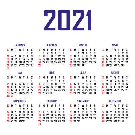 Illustration pour Calendar 2021. The week begins on Sunday. Simple calendar template. Portrait of vertical orientation. Annual organizer of stationery. Vector illustration - image libre de droit