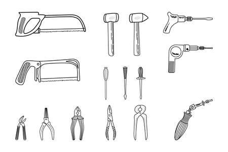 Illustration pour Set of hand tools, ploskogkbtsi, pliers, hammer, saw, screwdriver. Isolated on white background. Editable stroke Vector illustration - image libre de droit