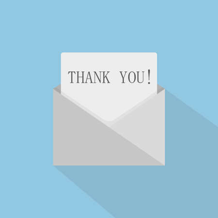 Illustration pour Thank you concept with open envelope. The letter says thank you. Vector illustration - image libre de droit