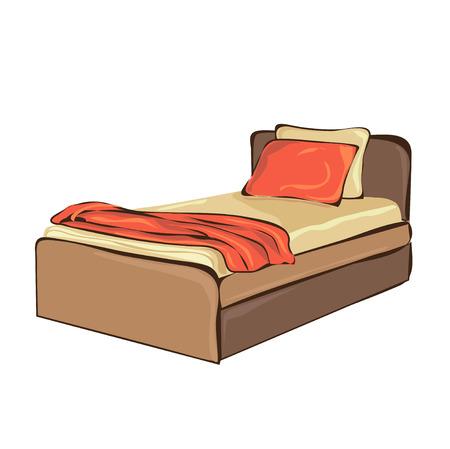 Bedroom Furniture Editable Vector Illustration Of An Outline Sketch
