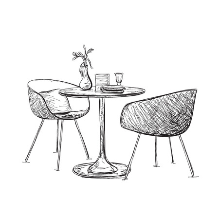 Illustration pour Sketch of modern interior table and chairs. Hand drawn furniture - image libre de droit