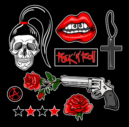 Fashion patch badges with lips, skull,cross, rose, gun and other elements. Vector illustration. Set of stickers, pins, patches in rocknroll style.