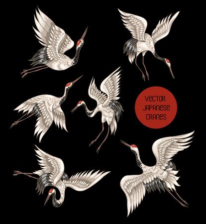 Ilustración de Japanese white cranes in different poses for your design - Imagen libre de derechos