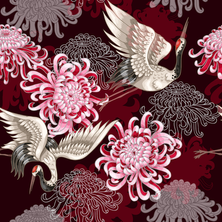 Illustration pour Seamless pattern with Japanese white cranes and chrysanthemums on a claret background - image libre de droit