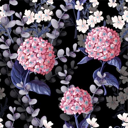 Ilustración de Seamless pattern with hydrangeas, cotton flowers and eucalyptus branches. - Imagen libre de derechos