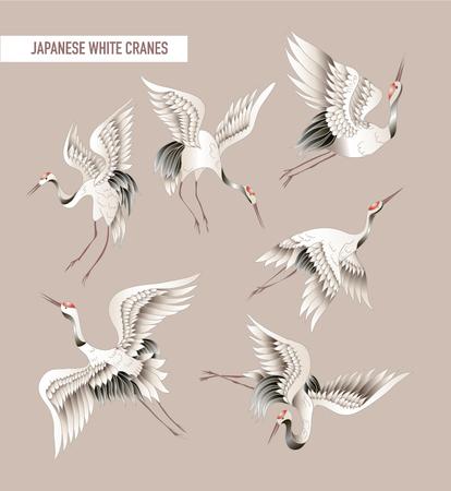 Ilustración de Japanese white crane in batik style. Vector - Imagen libre de derechos