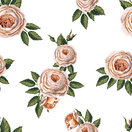 Illustration pour Seamless pattern with English roses on a blue background. - image libre de droit
