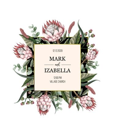 Illustration pour Wedding invitation with leaves, protea flowers, succulent and golden elements in watercolor style. - image libre de droit