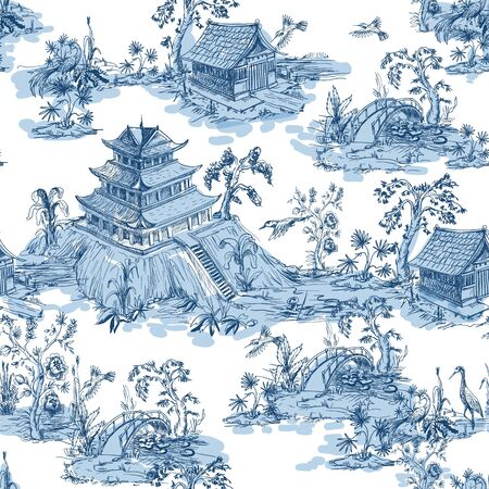 Illustration pour Seamless pattern in chinoiserie style for fabric or interior design. - image libre de droit