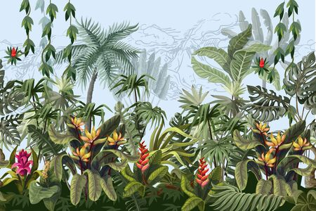 Illustration pour Seamless border with jungle trees and flowers. Vector - image libre de droit
