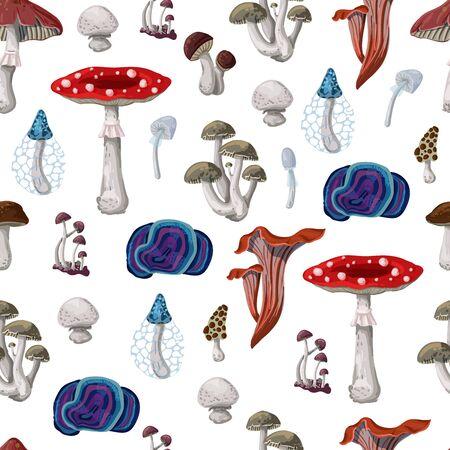 Illustration pour Seamless pattern with different Mushrooms. Vector. - image libre de droit