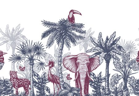 Illustration pour Seamless border with graphical tropical tree such as palm, banana and jungle animals. Vector. - image libre de droit