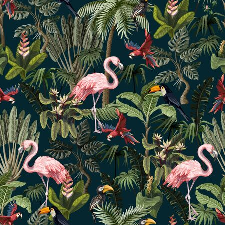 Illustration pour Seamless pattern with jungle animals, flowers and trees. Vector. - image libre de droit
