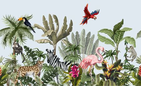 Illustration for Seamless border with jungle animals, flowers and trees. Vector. - Royalty Free Image