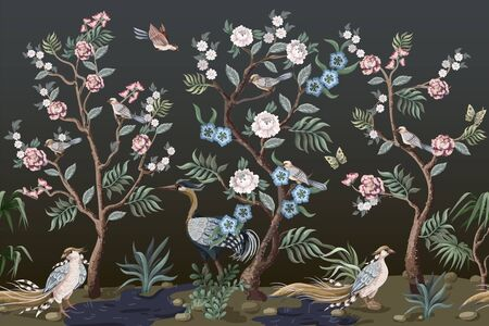 Illustration pour Border in chinoiserie style with herons and peonies. Vector. - image libre de droit