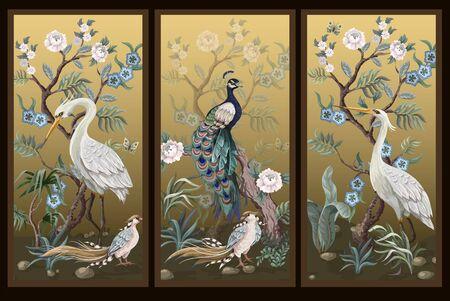 Ilustración de Folding screen in chinoiserie style with peacock and peonies on golden background. Vector. - Imagen libre de derechos
