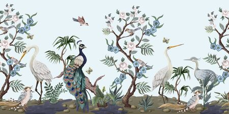 Illustration pour Border in chinoiserie style with herons, peacock and peonies. Vector. - image libre de droit