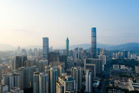 Photo pour A drone aerial view of the city - image libre de droit