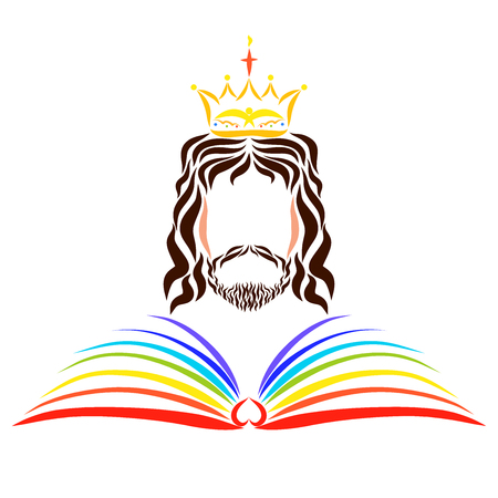 Photo for The Open Rainbow Book of Life before the Reigning Lord Jesus - Royalty Free Image