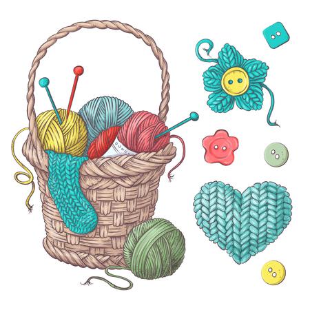 handmade basket with balls of yarn