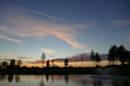 Photo pour Lake fountain boat forest. Natural composition The photo - image libre de droit