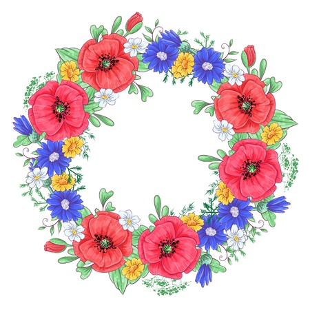 Illustration pour A wreath of red poppies and daisies. Hand drawing Vector illustration. - image libre de droit